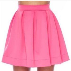 Neon pink mini skater skirt